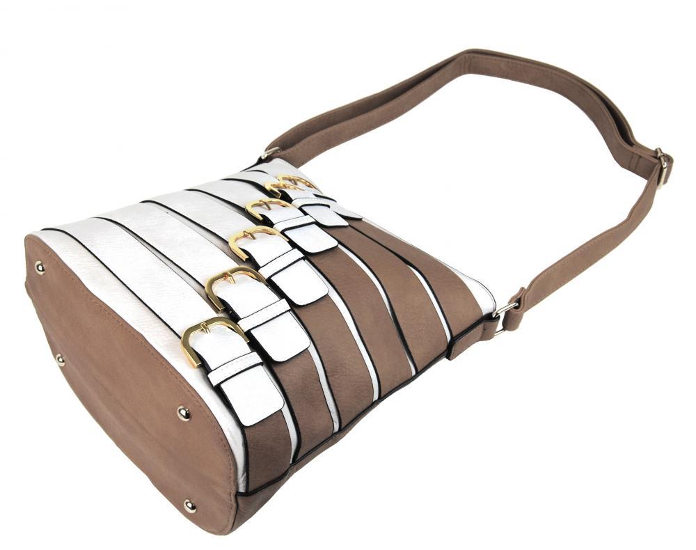 Moderná crossbody kabelka so zlatými prackami 2124-BB prírodná hnedá