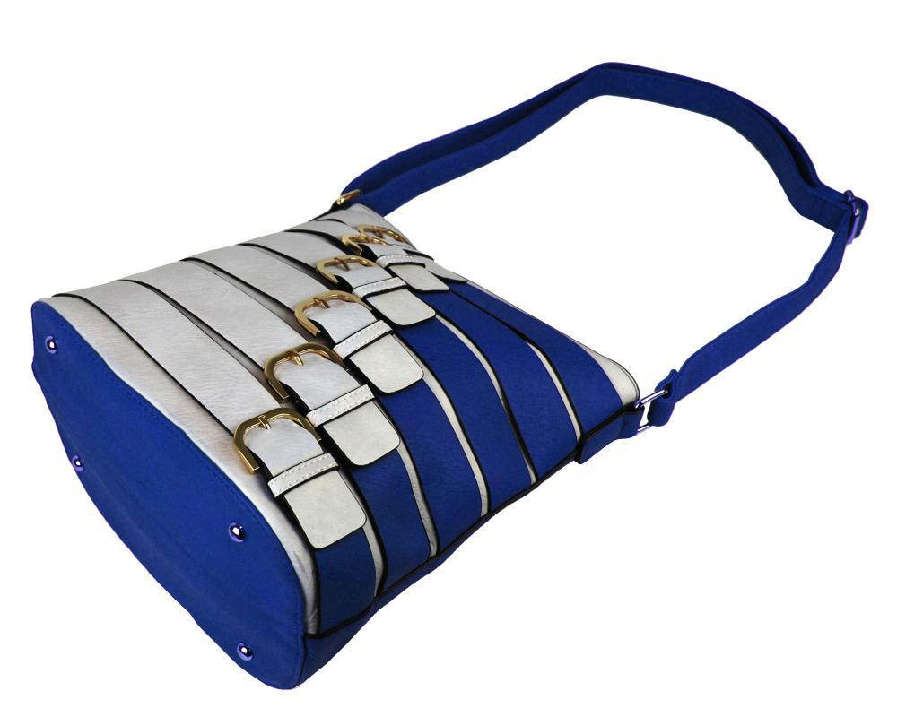 Moderná crossbody kabelka so zlatými prackami 2124-BB modrá