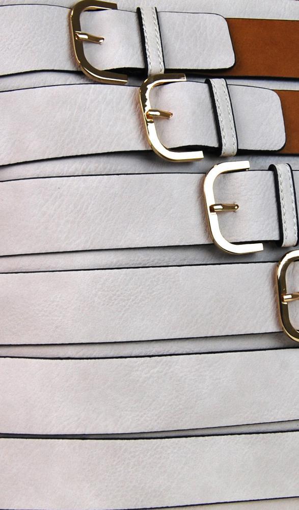 Moderní crossbody kabelka se zlatými přezkami 2124-BB hnědá