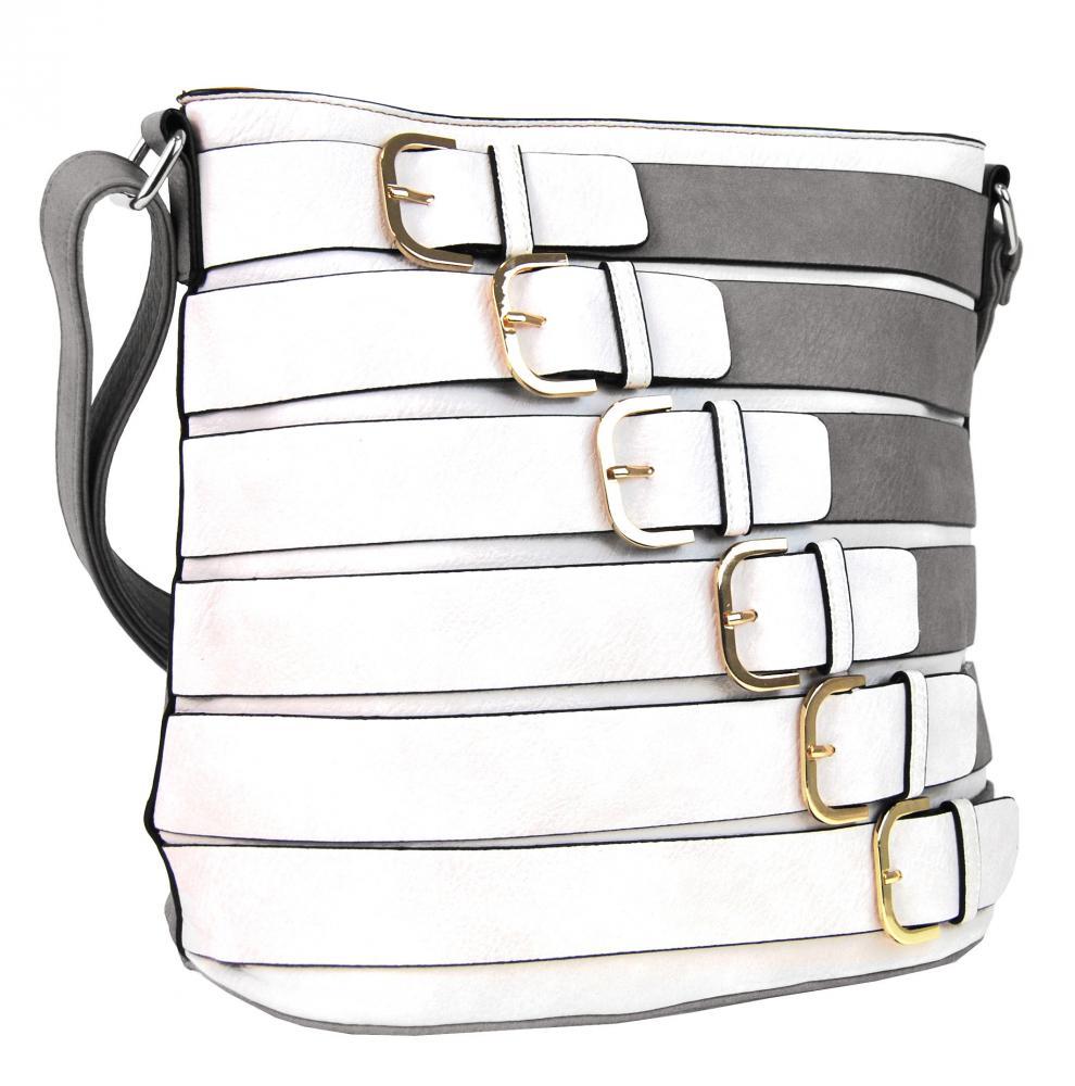 Moderná crossbody kabelka so zlatými prackami 2124-BB sivá
