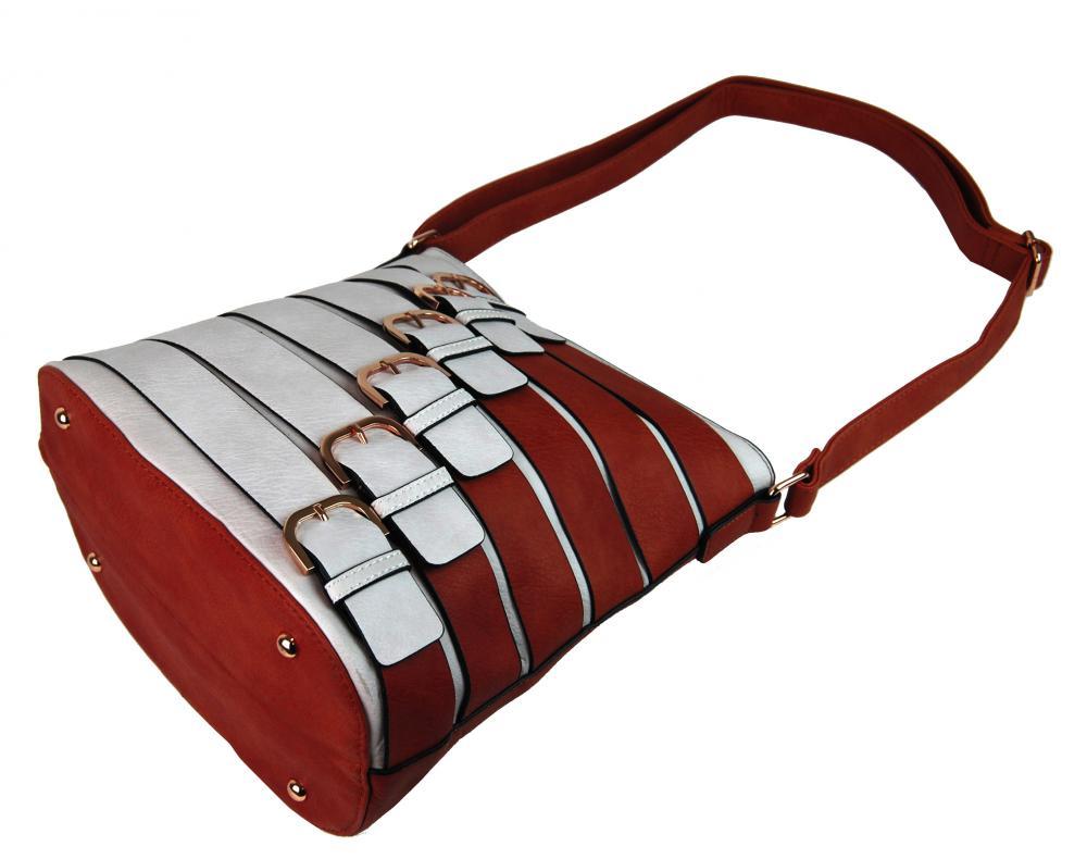 Moderná crossbody kabelka so zlatými prackami 2124-BB červená