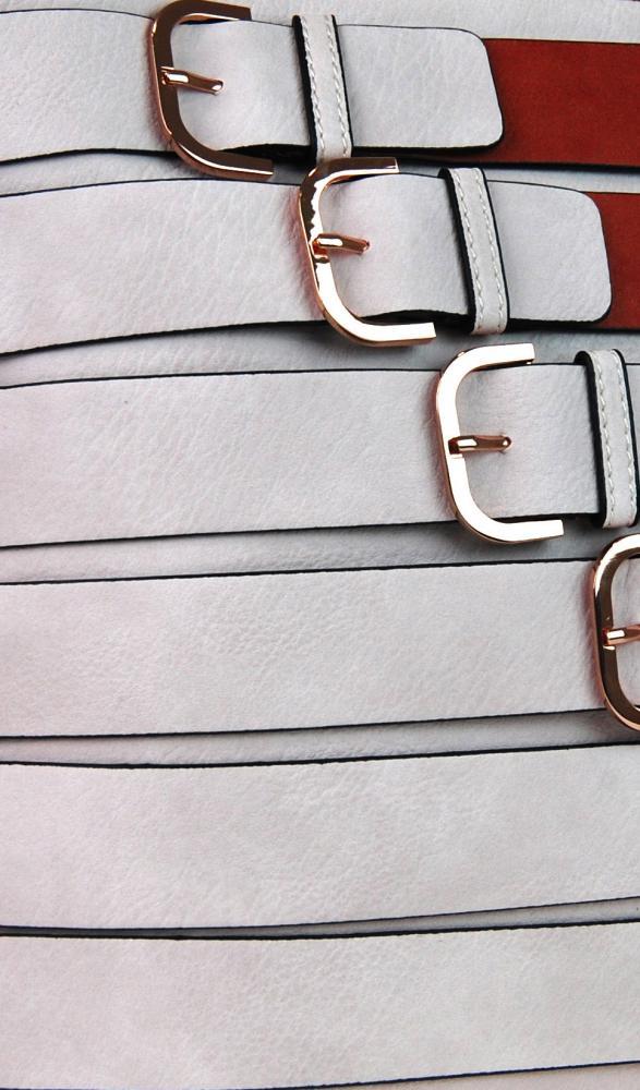 Moderní crossbody kabelka se zlatými přezkami 2124-BB červená