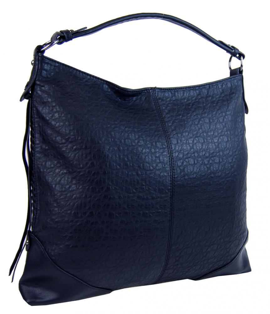 Atramentovo modrá dámska kabelka na rameno v jemnom kroko dizajne 2456-BB