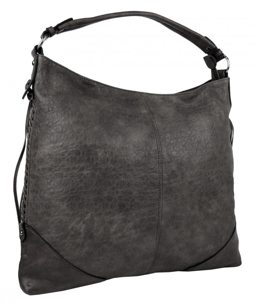 Šedá dámská kabelka na rameno v jemném kroko designu 2456-BB
