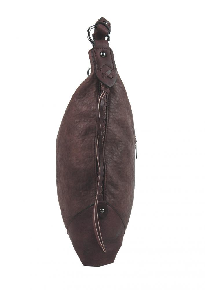 Hnedofialová dámska kabelka na rameno v jemnom kroko dizajne 2456-BB