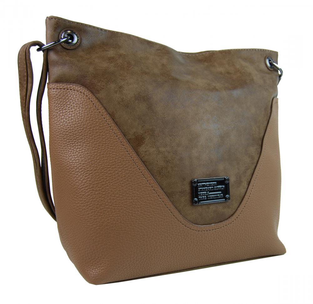 Veľká dámska crossbody kabelka 2467-BB hnedá camel
