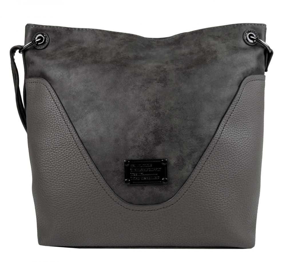 Veľká dámska crossbody kabelka 2467-BB sivá