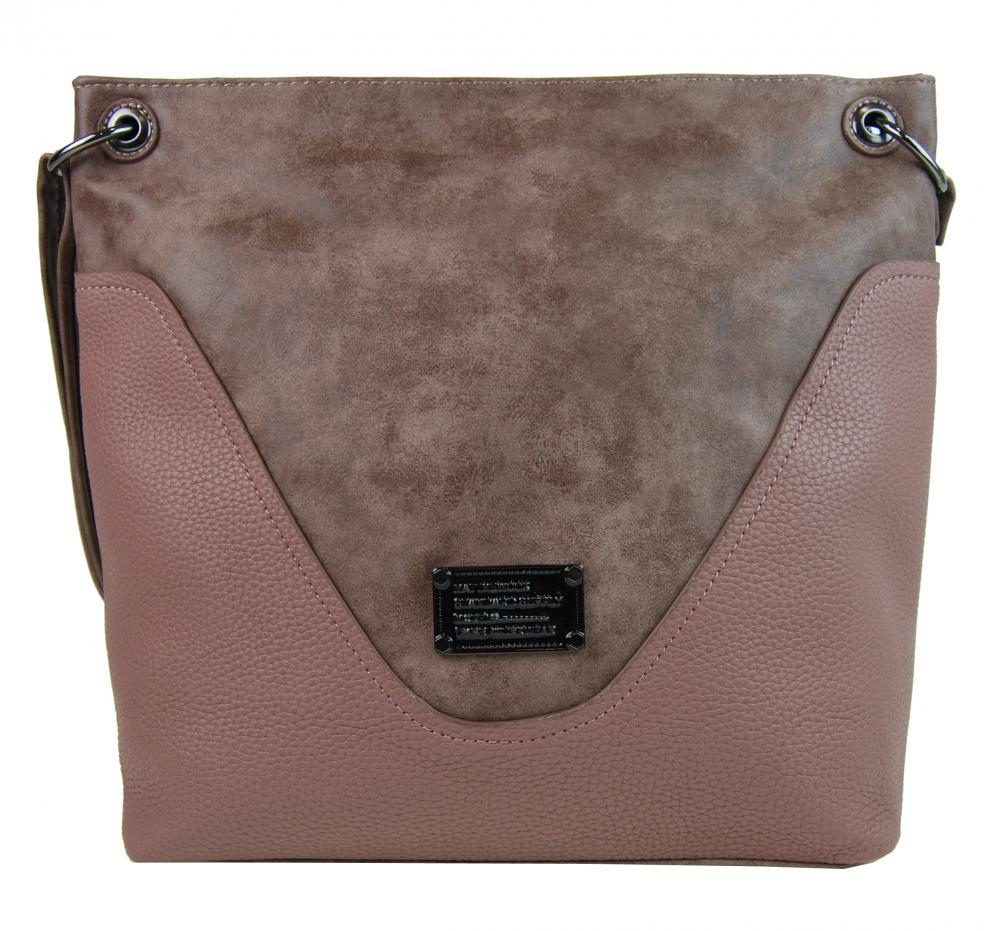 Veľká dámska crossbody kabelka 2467-BB ružovo-hnedá empty e574ea82258