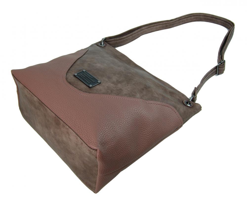 Veľká dámska crossbody kabelka 2467-BB ružovo-hnedá