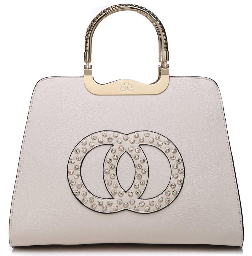 Módna béžová kabelka s ozdobnými kruhmi K2628