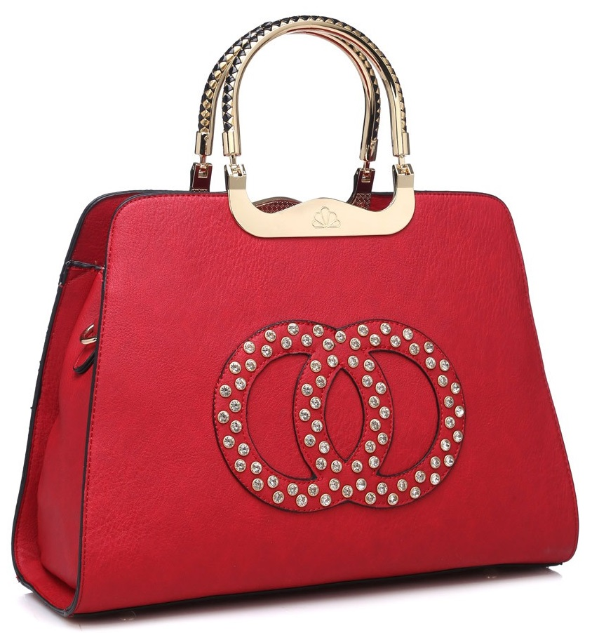 Módní červená kabelka s ozdobnými kruhy K2628