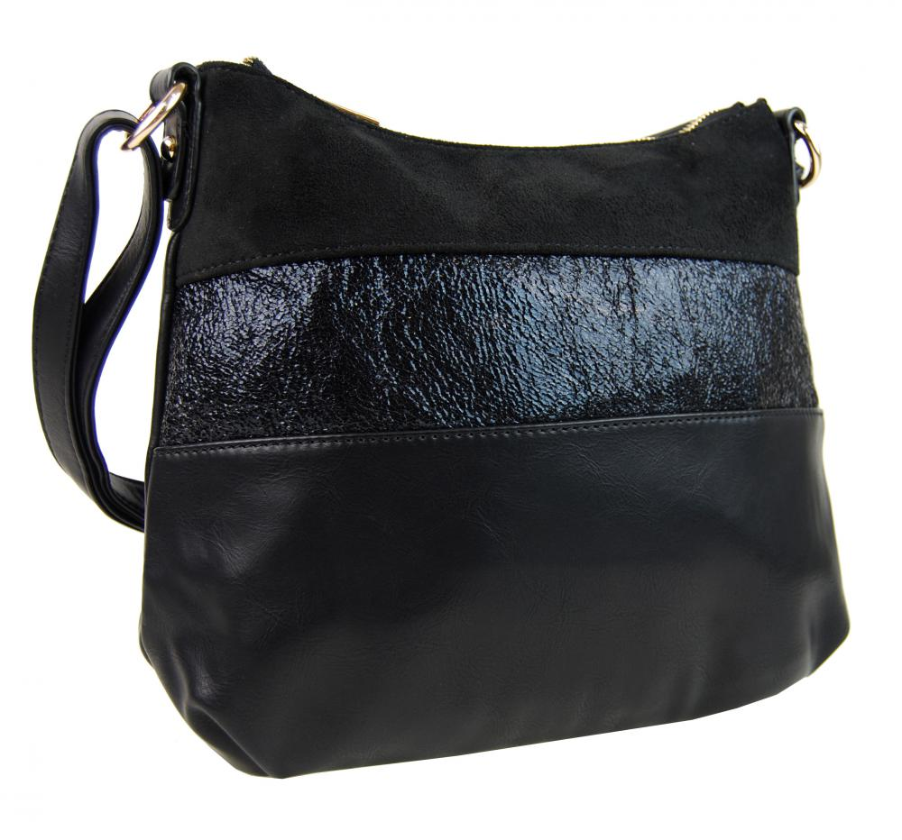 Elegantná čierna menšia crossbody kabelka so zlatými doplnkami 2765-BB