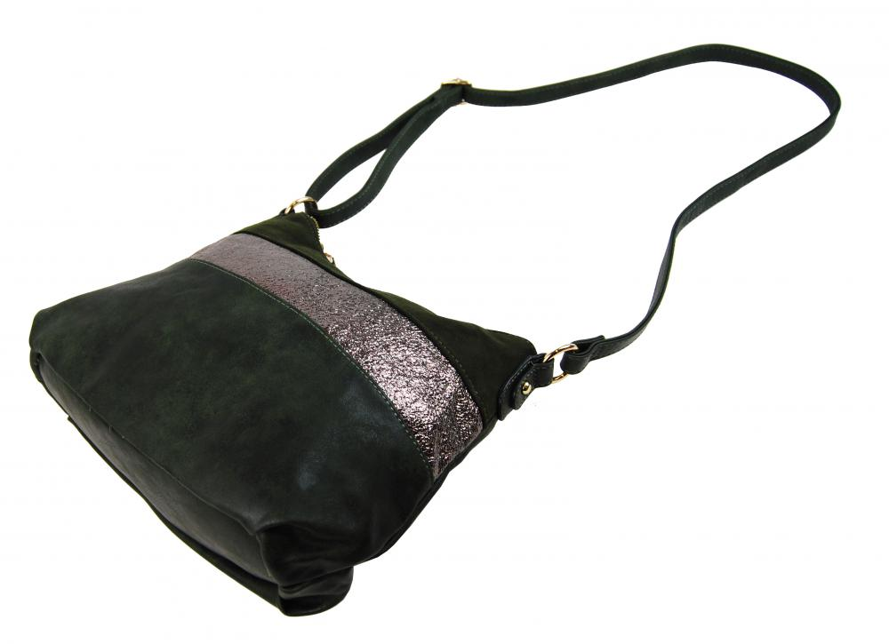 Elegantná zelená menšia crossbody kabelka so zlatými doplnkami 2765-BB