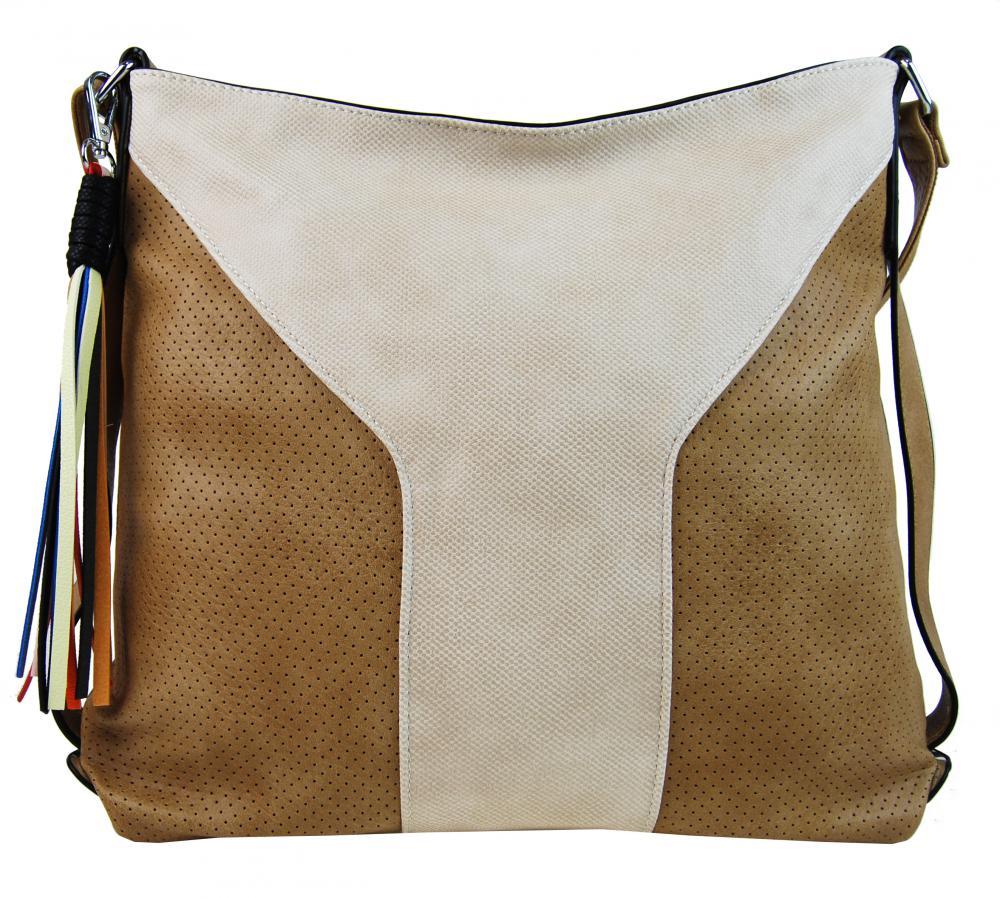 Velká dámská crossbody kabelka 2949-MM béžovo-hnědá