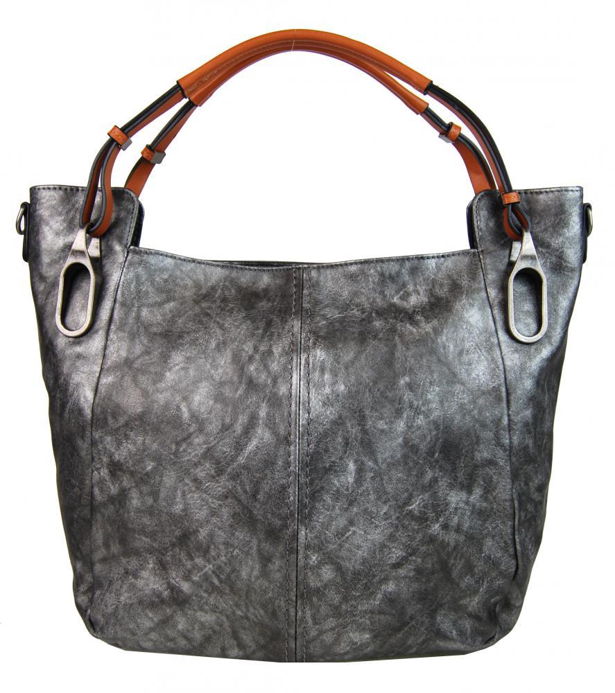 Šedá dámska kabelka na rameno s hnedými rúčkami 3003-MM
