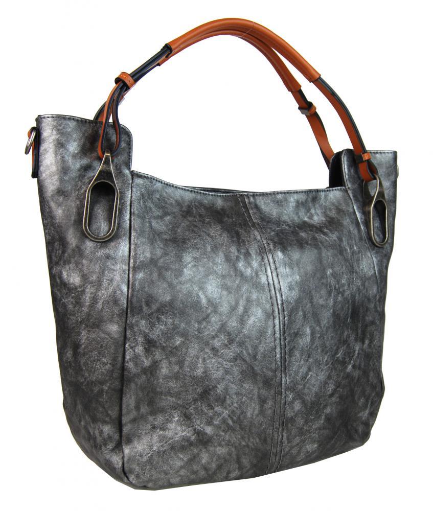 Šedá míhaná dámská kabelka na rameno s hnědými ručkami 3003-MM