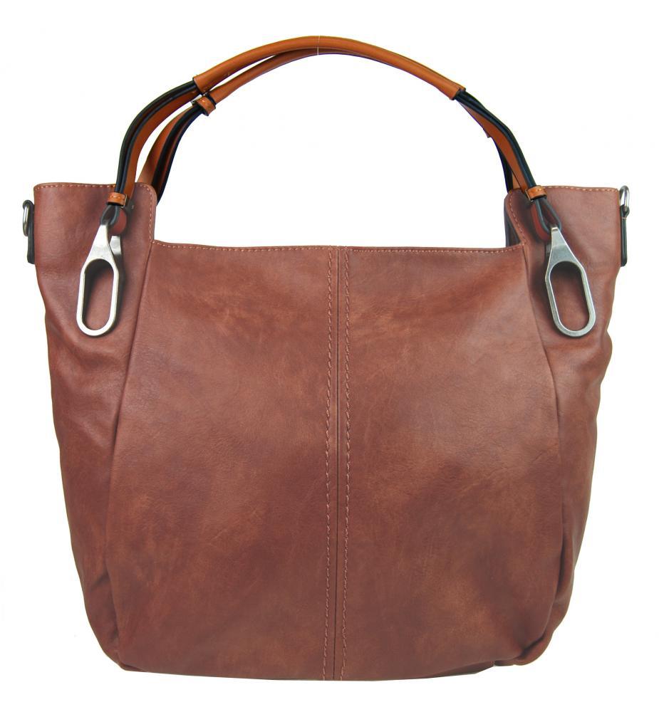 Hnedoružová dámska kabelka na rameno s hnedými rúčkami 3003-MM
