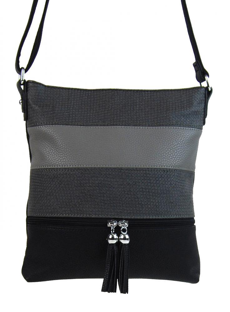 Crossbody dámska kabelka 3226-BB čierna pruhovaná