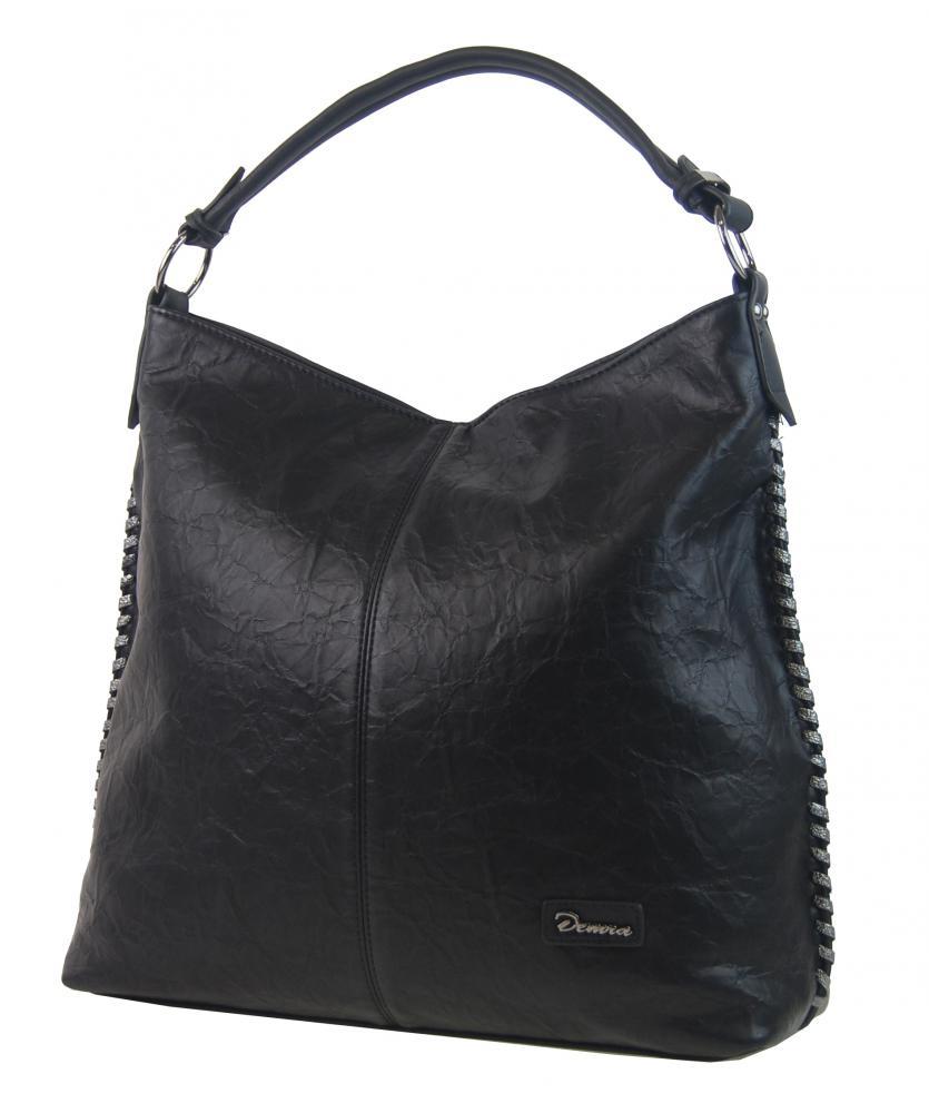 Moderná veľká kabelka cez plece 3813-DE čierna