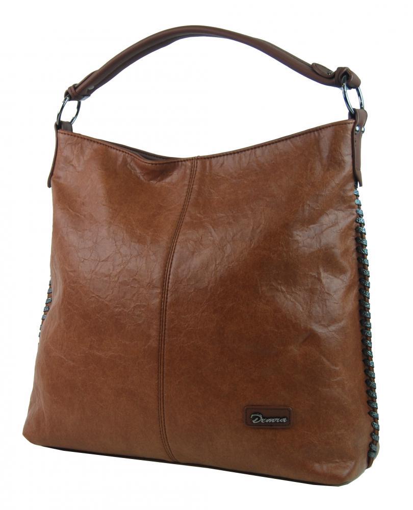 Moderná veľká kabelka cez plece 3813-DE hnedá