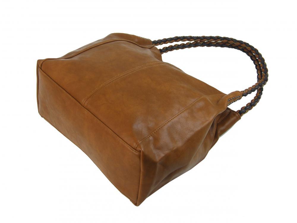 Hořčicově hnědá moderní kabelka přes rameno 3969-BB