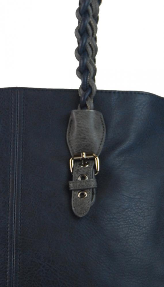 Modrá väčšia kabelka cez plece 4033-BB