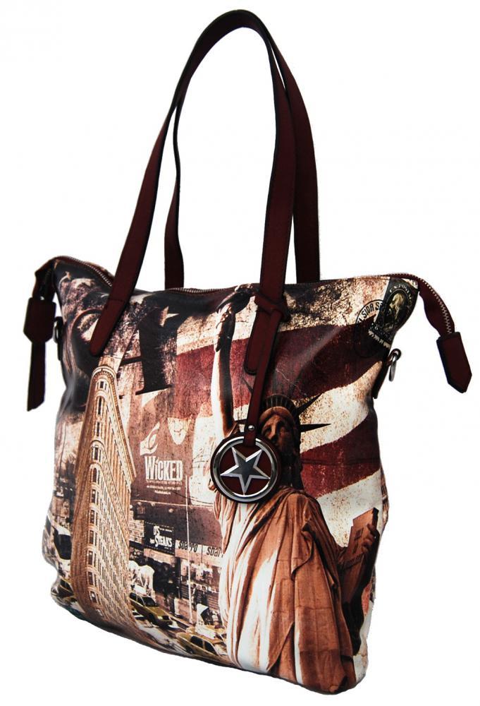 Bordová velká dámská kabelka se sochou svobody