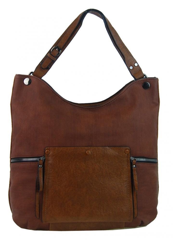 Hnedá veľká kabelka cez plece 4145-BB