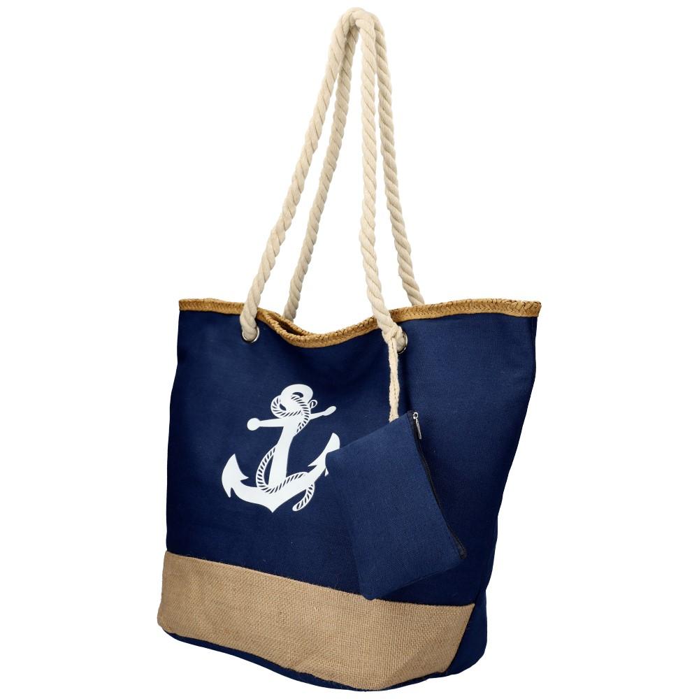 Veľká modrá plážová taška s kotvou cez rameno 51383