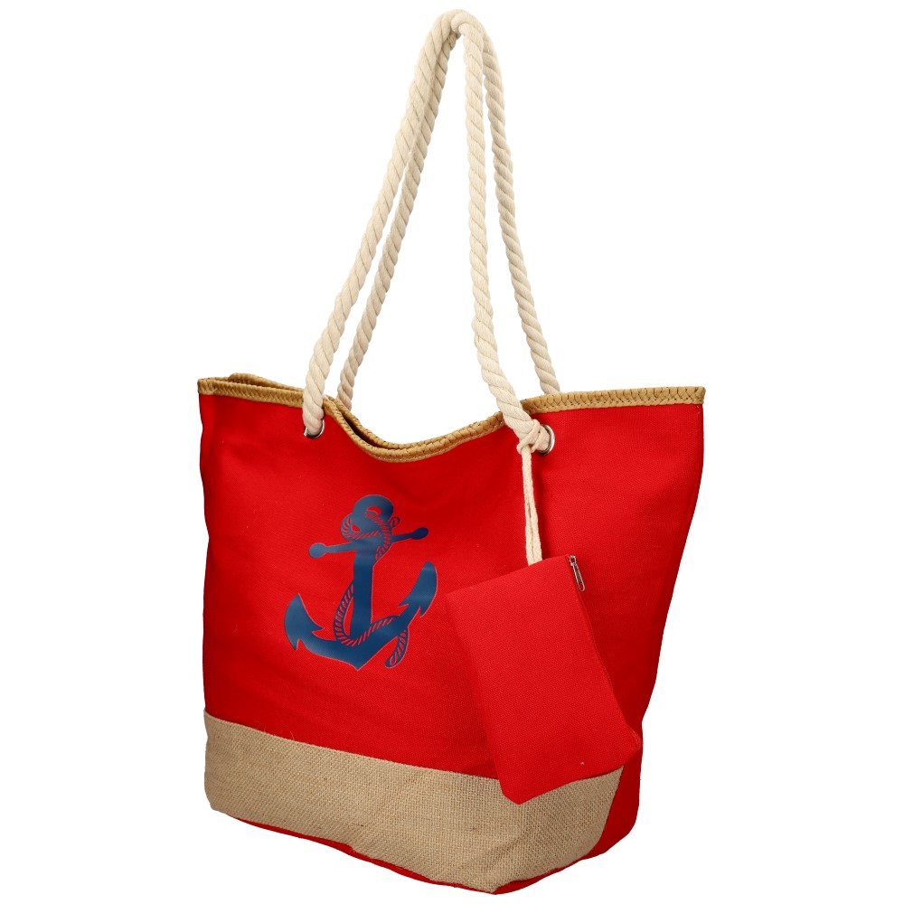 Velká červená plážová taška s kotvou přes rameno 51383