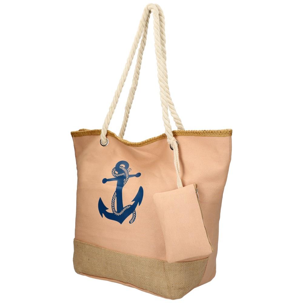 Veľká ružová plážová taška s kotvou cez rameno 51383