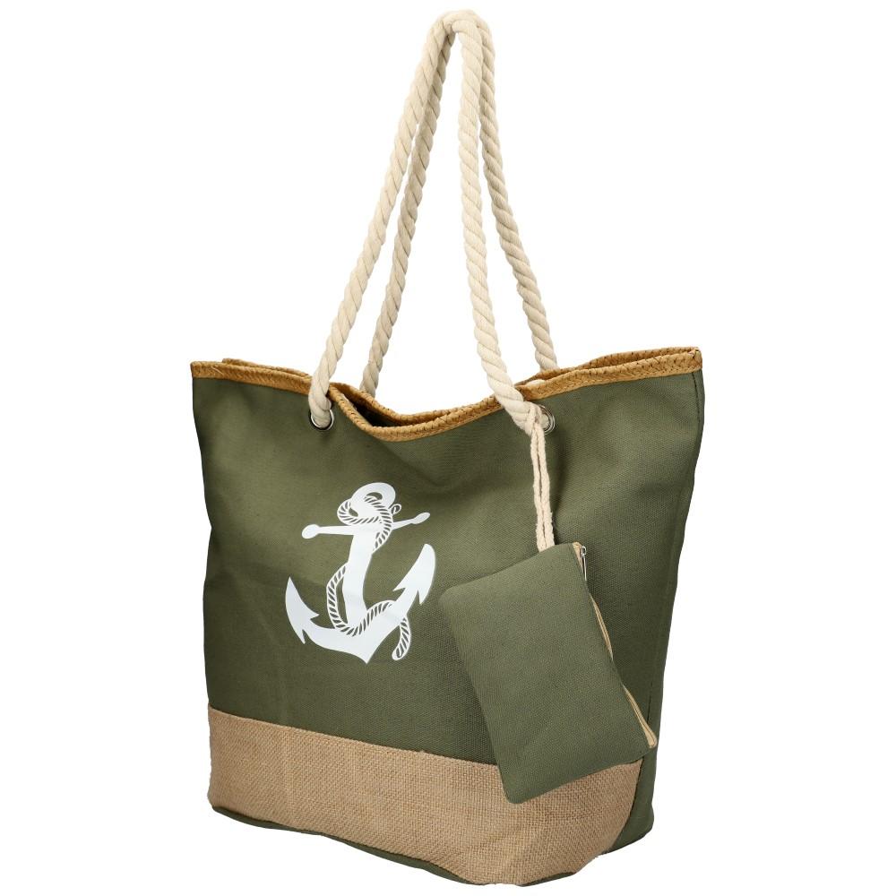 Veľká khaki zelená plážová taška s kotvou cez rameno 51383