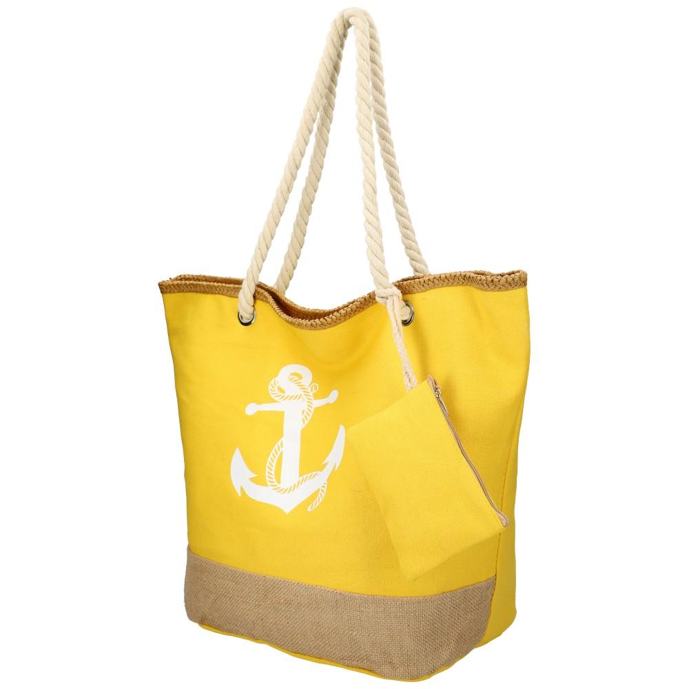 Velká žlutá plážová taška s kotvou přes rameno 51383