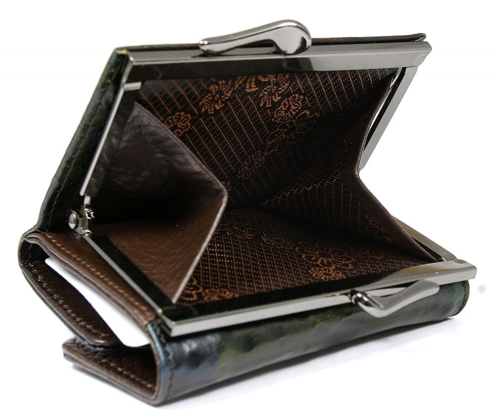 Tmavá hnedo-zelená malá dámska kožená peňaženka v krabičke Forever Young