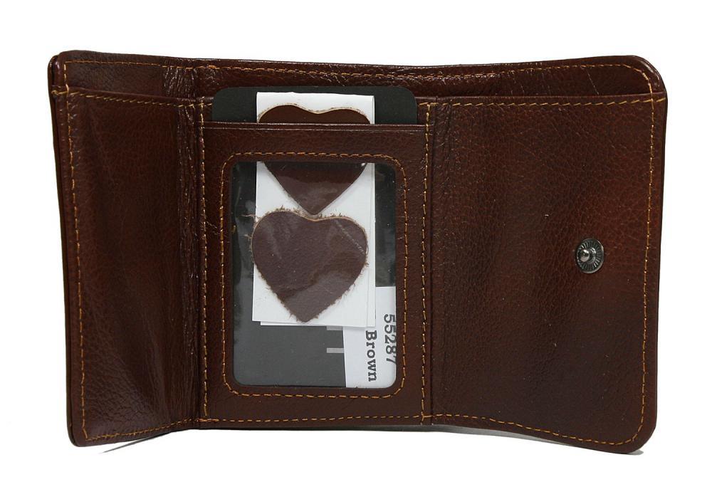 Hnědá malá dámská kožená peněženka v krabičce Lorenti