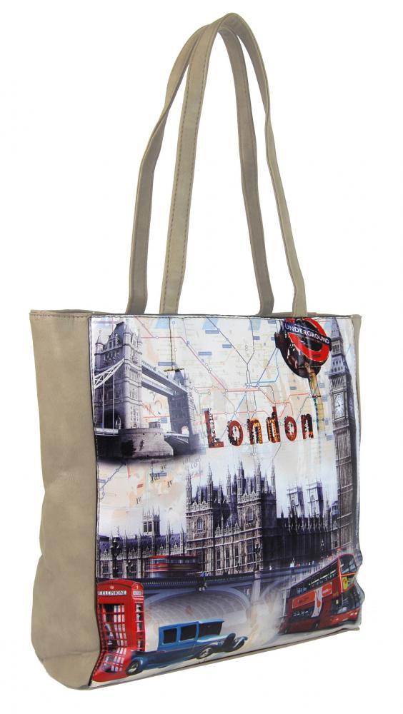 Dámska kabelka na rameno s motívom Londýna 60694 béžová