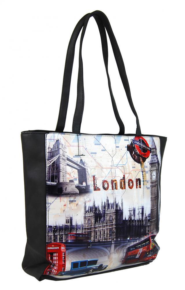 Dámska kabelka na rameno s motívom Londýna 60694 tmavo sivá