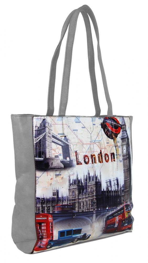 Dámska kabelka na rameno s motívom Londýna 60694 svetlo sivá