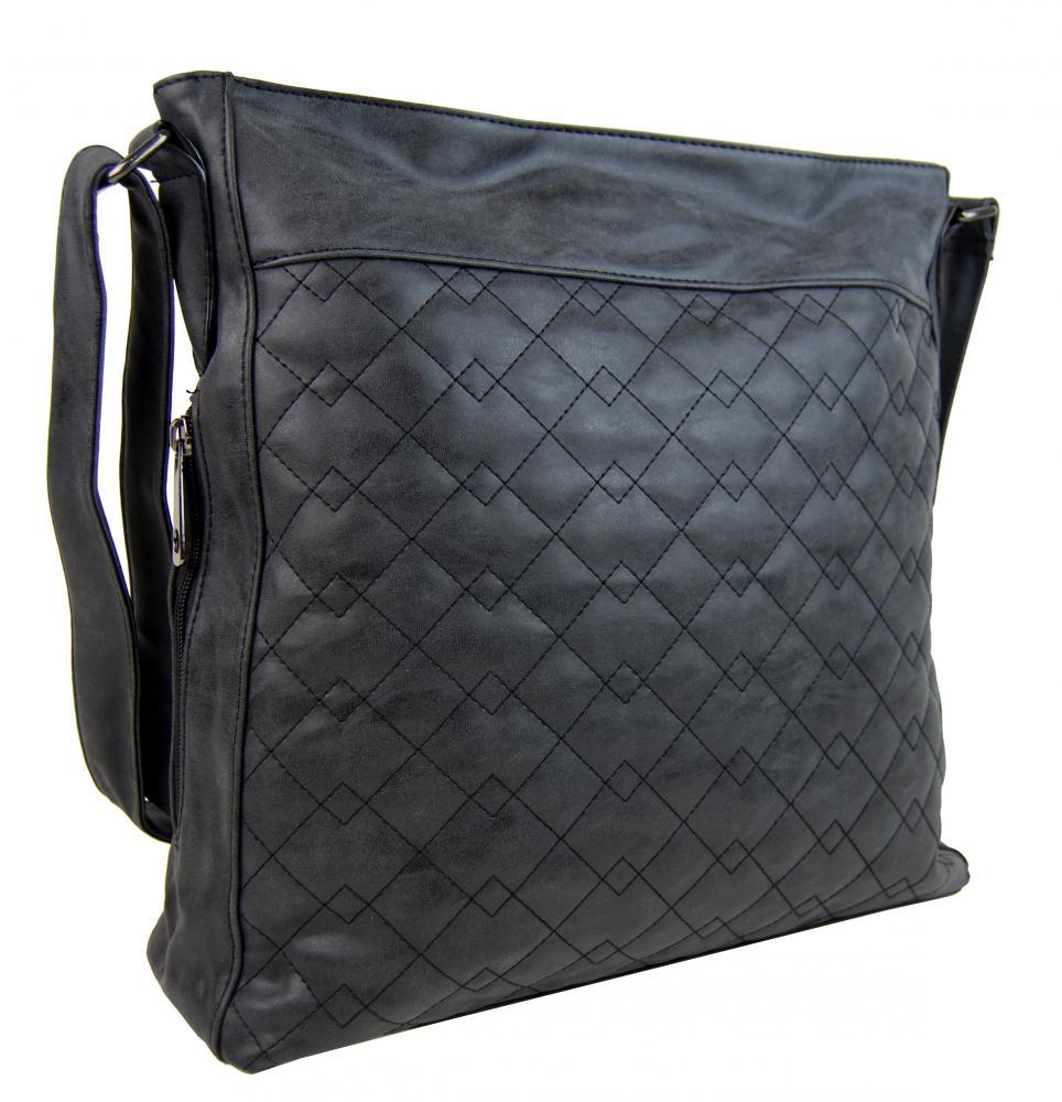 Veľká čierna crossbody kabelka z brúsenej kože 613-3