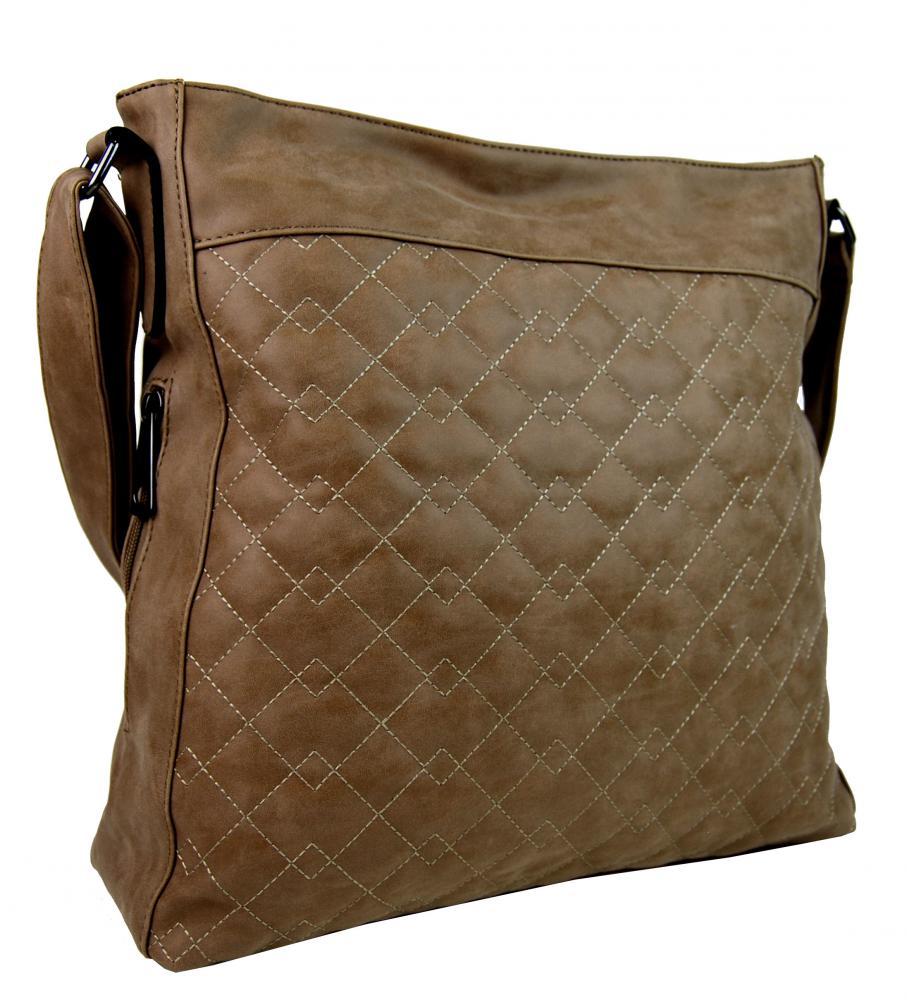 Veľká tmavo hnedá crossbody kabelka z brúsenej kože 613-3