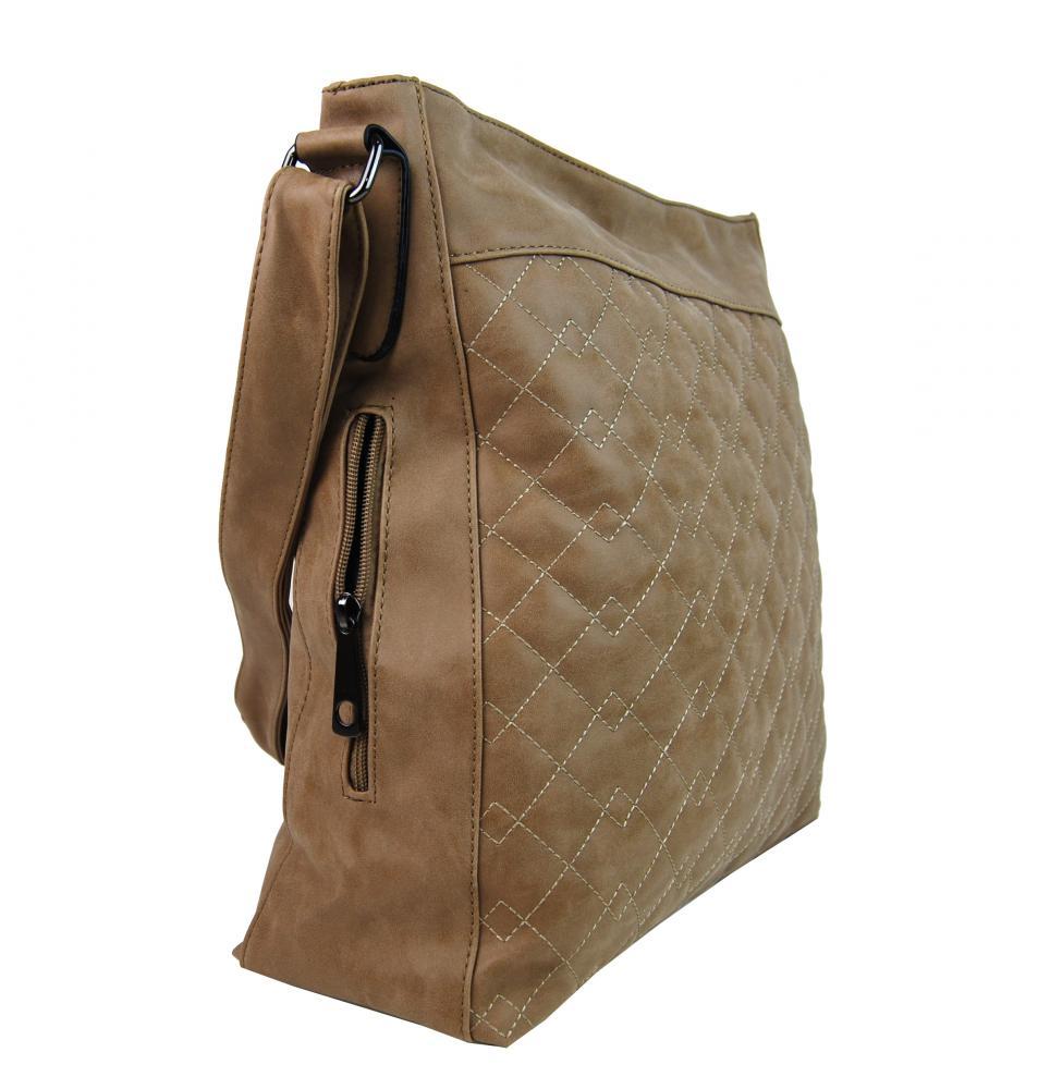 Veľká prírodne hnedá crossbody kabelka z brúsenej kože 613-3