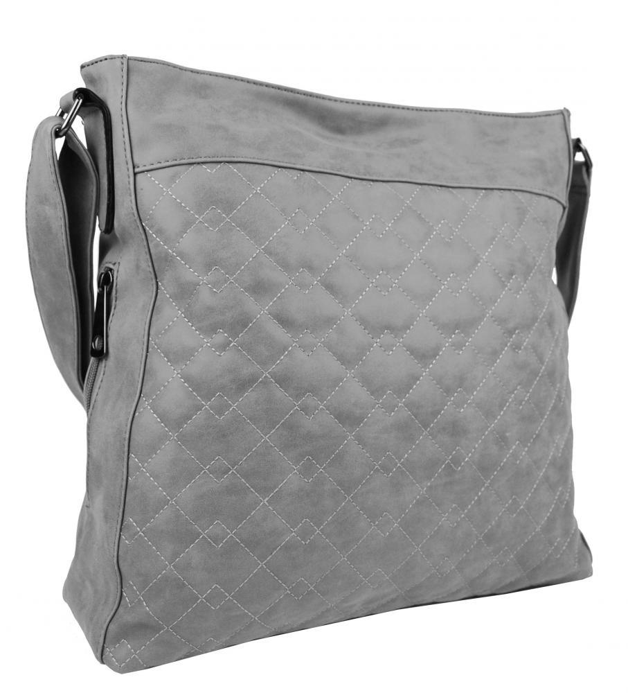 Veľká svetlo sivá crossbody kabelka z brúsenej kože 613-3
