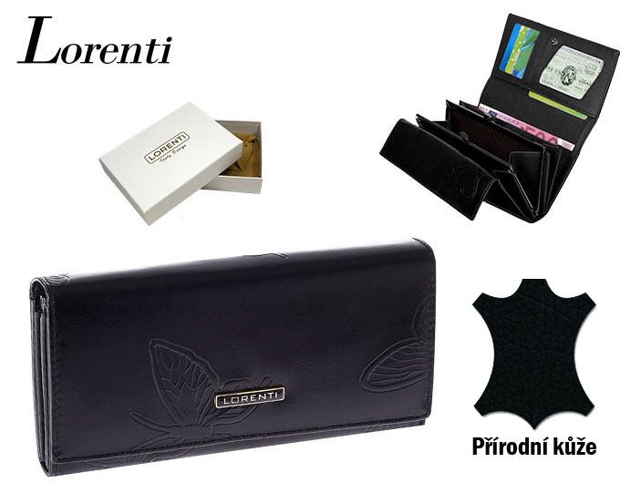 Lorenti černá dámská kožená peněženka v dárkové krabičce