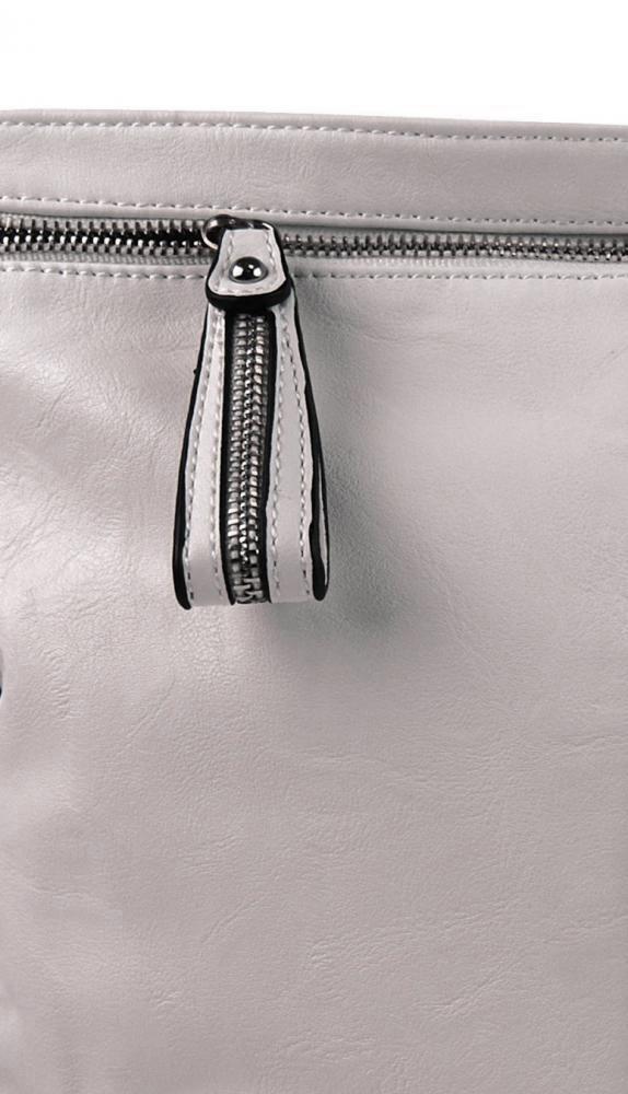 Moderní velká crossbody kabelka 74-MH světle šedá