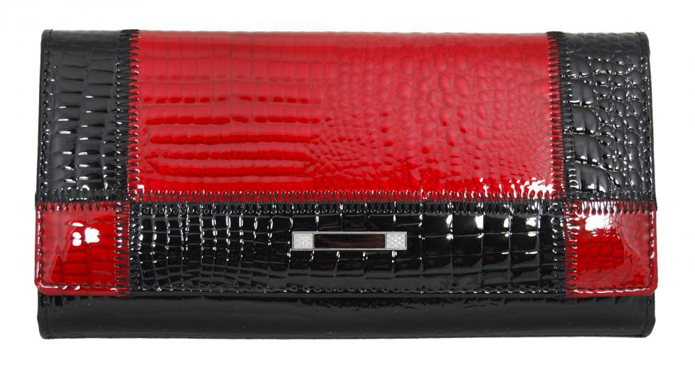 Dámska kožená peňaženka Cossroll 05-5242 čierno-červená