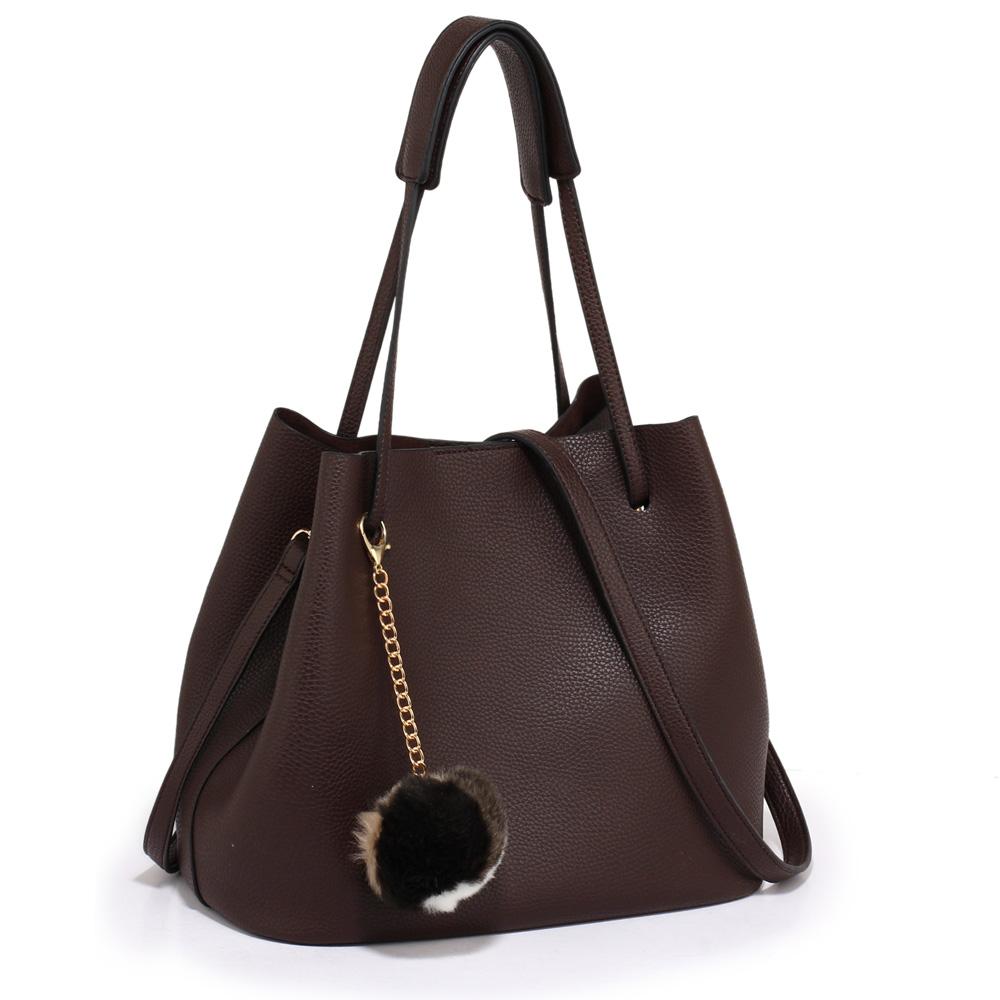 LS Fashion moderná kávová dámska Hobo kabelka s kožušinovou výzdobou