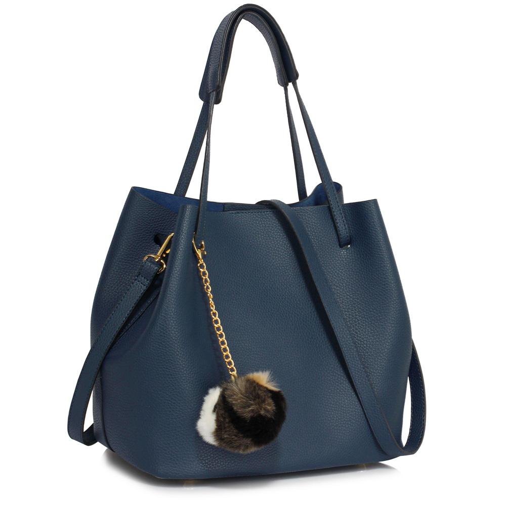 LS Fashion moderná modrá dámska Hobo kabelka s kožušinovou výzdobou