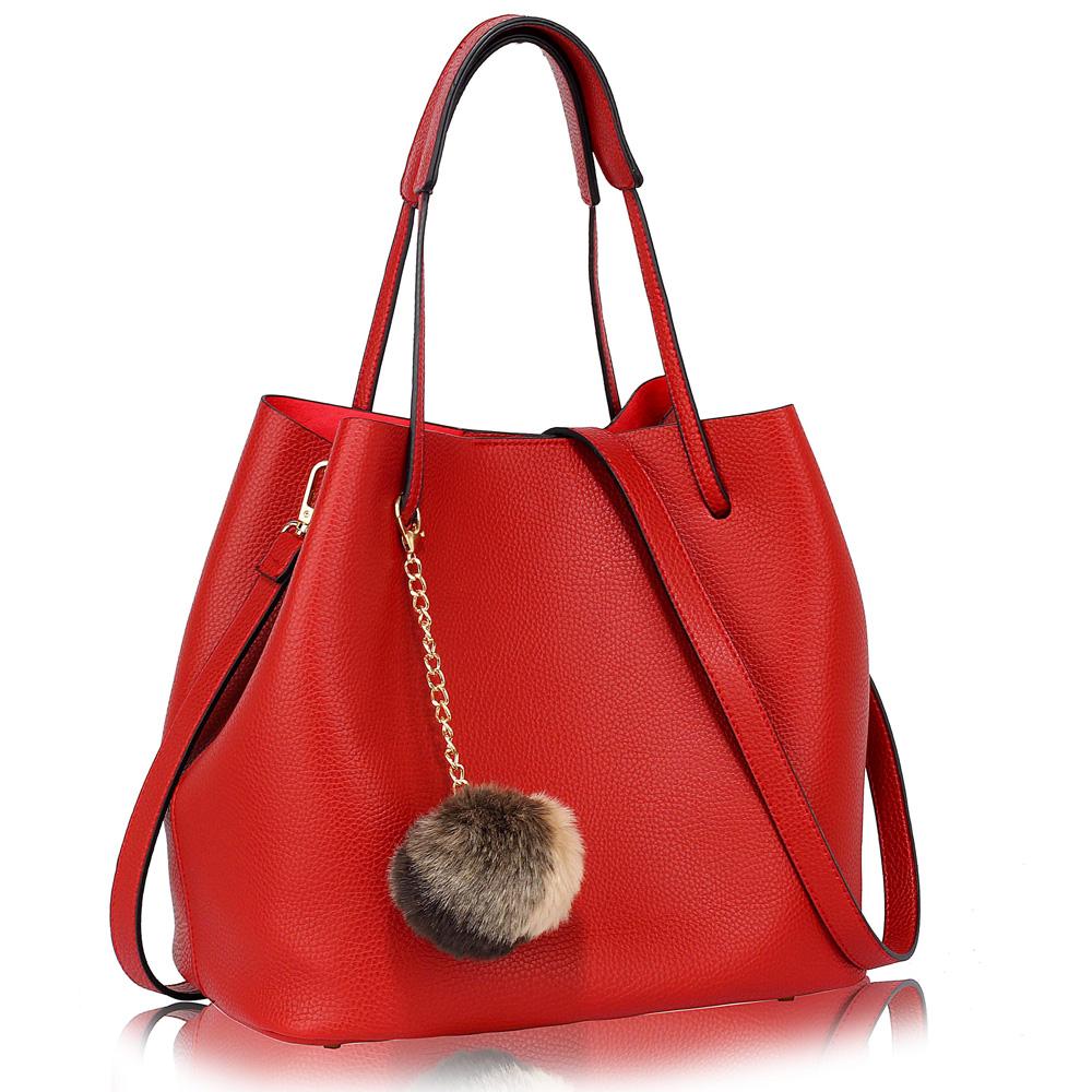LS Fashion moderná červená dámska Hobo kabelka s kožušinovou výzdobou