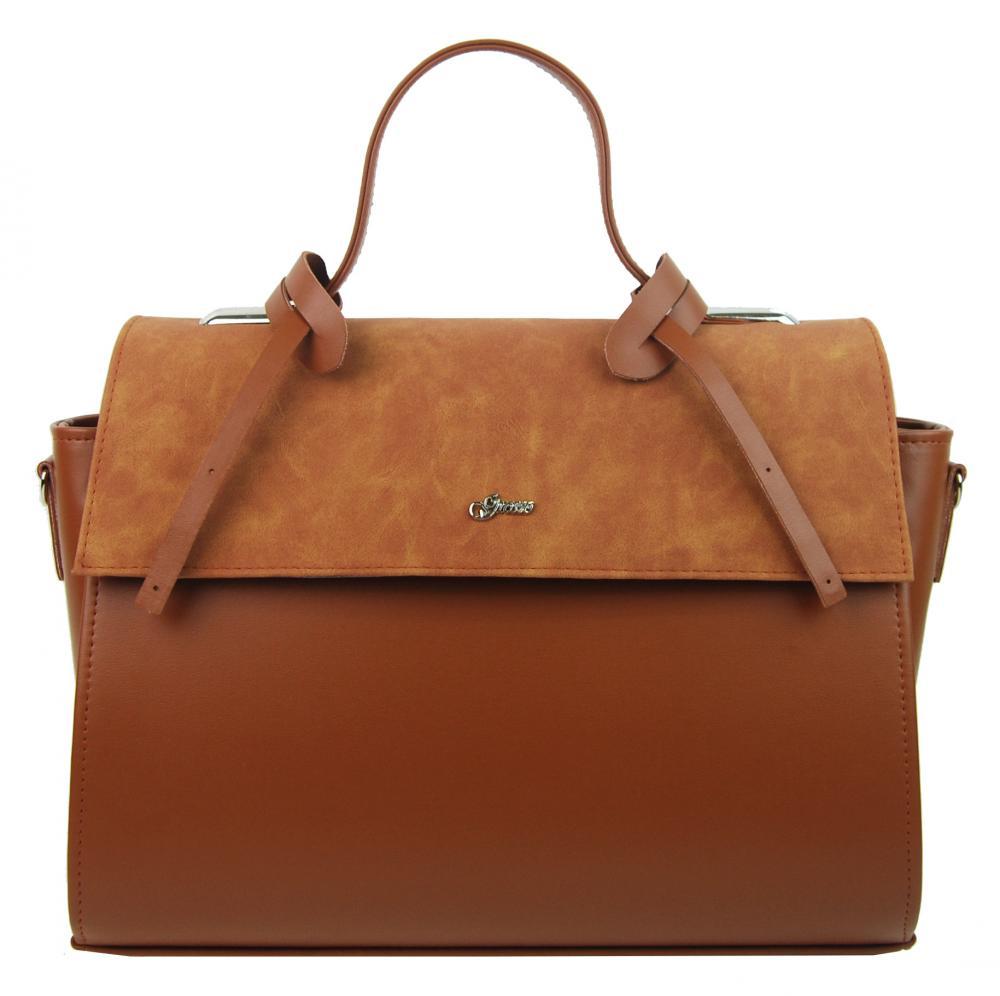 GROSSO Skořicová hnědá dámská stylová kabelka S754