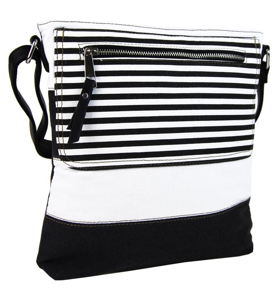 Textilná crossbody dámska kabelka B508 čierno-biela